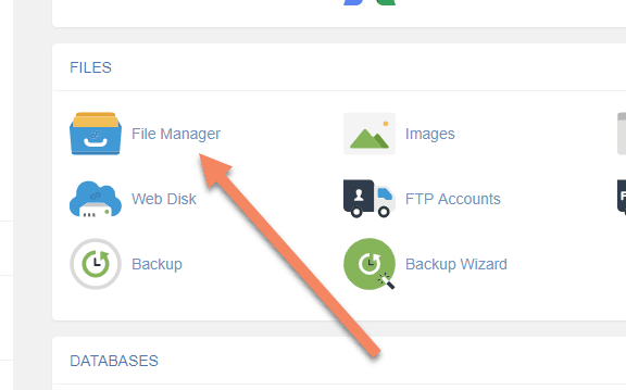 screenshot of cPanel with an arrow pointing to File Manager
