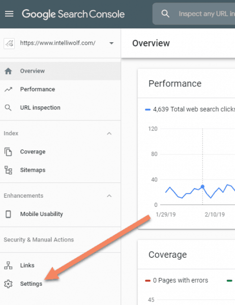 Google Search Console screenshot showing where settings is located