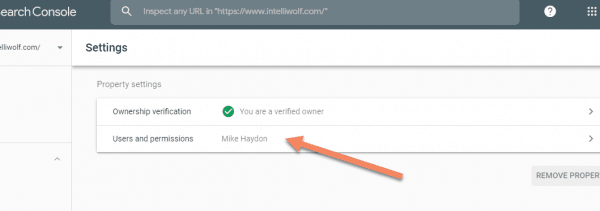 Google Search Console screenshot showing Users and permissions