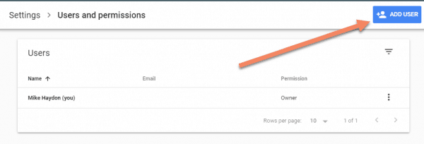 Google Search Console screenshot showing Add User button