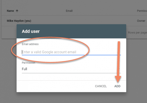 Google Search Console screenshot showing where to enter email address