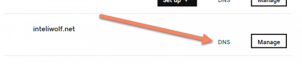 GoDaddy My Products section with arrow pointing at DNS