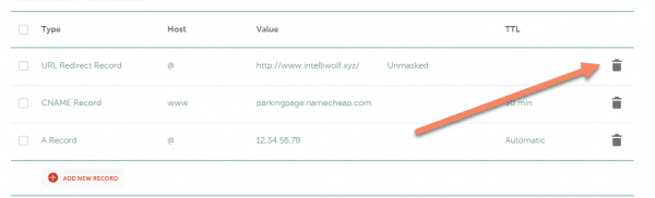 Namecheap advanced DNS with arrow pointing to delete trash icon for URL Redirect Record