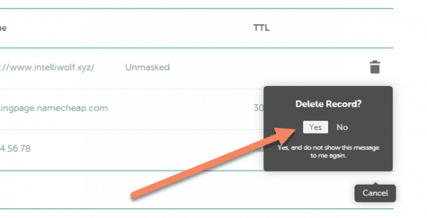 Namecheap advanced DNS with arrow pointing to Yes button on Delete Record confirmation