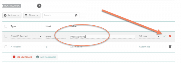 Namecheap advanced DNS with the domain in the value field for www CNAME record and arrow pointing to confirmation checkmark