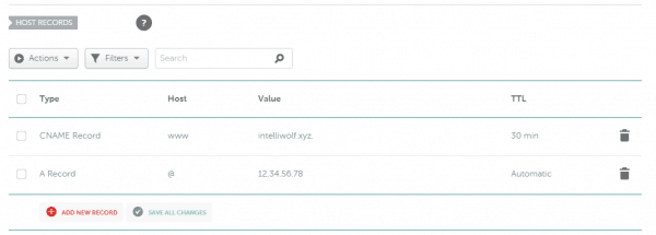 Namecheap advanced DNS showing a CNAME record for www to the domain and an A Record for @ with the IP address as the value