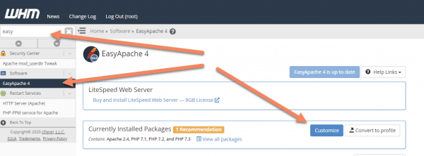 WHM back end EasyApache 4 tab with arrows pointing to the searched term 'easy', to EasyApache 4 in the sidebar and to Customize next to the currently installed packages