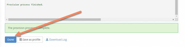 Message saying Provision process finished. Arrow pointing to Done button