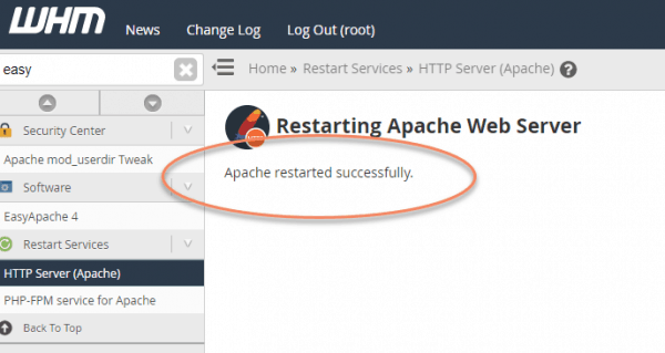 WHM back end Apache Web Server tab with circled message Apache restarted successfully