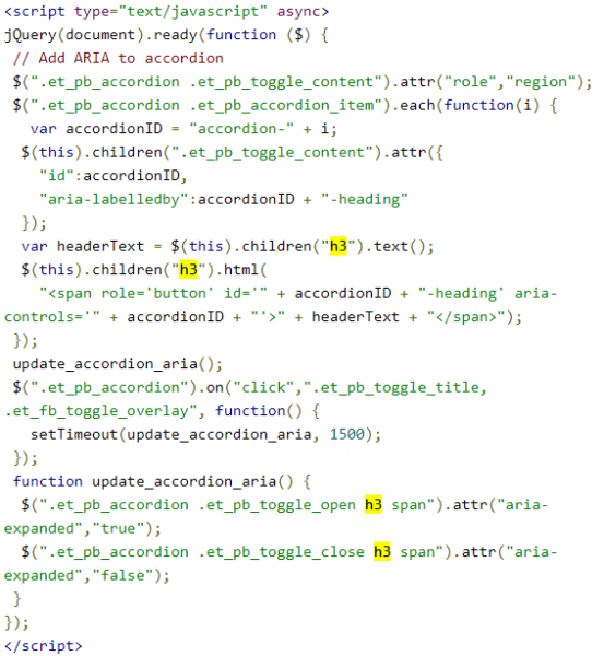 Accordion accessibility jQuery code copied from the top of the article, with h3 locations highlighted