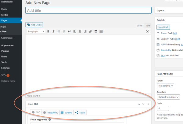 WordPress add new page, classic editor variation with the Yoast SEO meta box circled under the content editing area