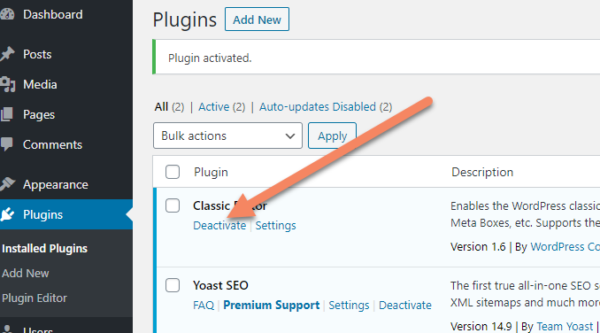 WordPress installed plugins area with an arrow pointing to deactivate under the Classic Editor plugin