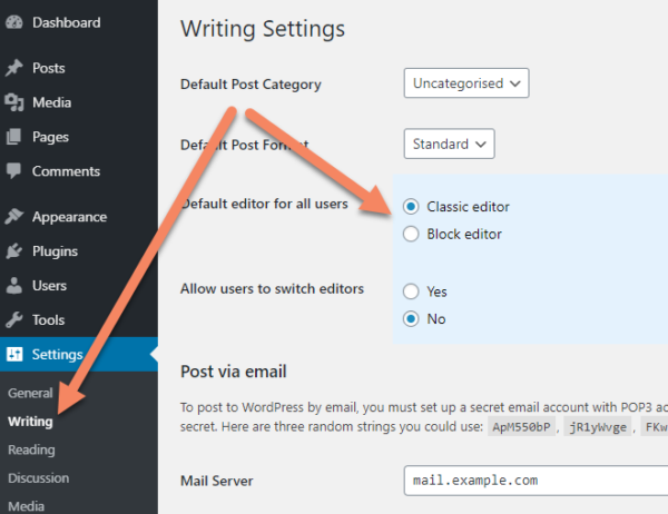 WordPress admin area, Writing Settings screen with arrows pointing to Writing under Settings in the sidebar and to the Classic editor radio button next to the label Default editor for all users