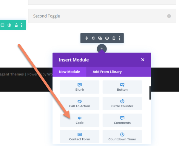 Inserting a module on the Divi frontend builder with an arrow pointing to the Code module