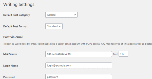 Default WordPress Writing Section showing default post category General, default post format Standard and instructions on how to post via email
