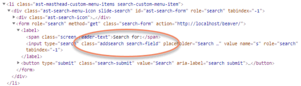 Code for Astra search form with class equals addsearch search field circled