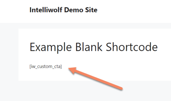 published post showing the shortcode text visible on the front end