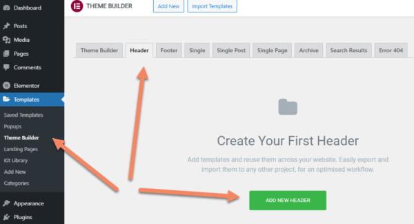 Elementor theme builder screen with arrows pointing at Theme Builder, Header tab and Add New Header button