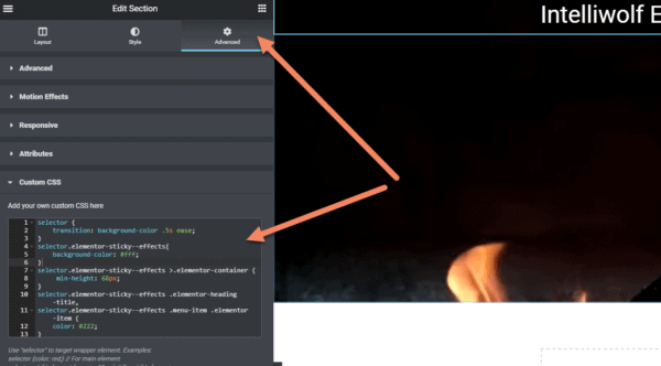 Arrows pointing to advanced tab and Custom CSS section where you add the selector code