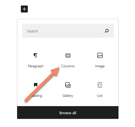 Gutenberg new block popup with an arrow pointing to the columns block