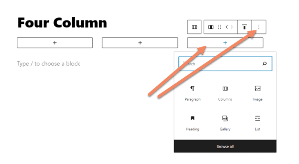 Gutenberg three column layout with an arrow pointing to one, selected column and another to the Options button for the column